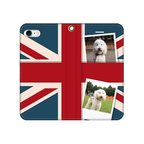 iPhone対応・手帳型ケースベルトなし【イギリス国旗 iPhone5/5s/5c/6/6s/7/8/SE/X/XS】