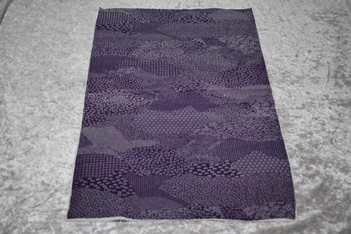 江戸小紋 見本布 はぎれ ㉚寄席型 扇 紫地