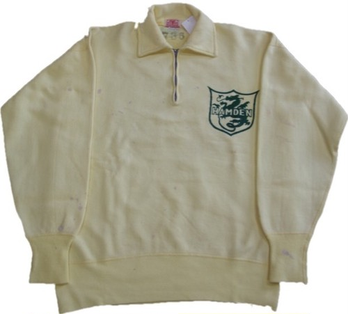 50's DIX KNIT HALF ZIP HAMDEN Dragon Flock Print SWEAT(黄)