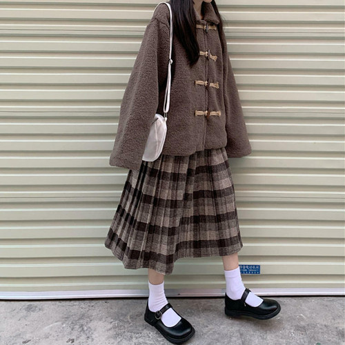 【送料無料】 ナチュラル ガーリー♡ ボア ダッフル コート × チェック柄 ミモレ丈 スカート セットアップ