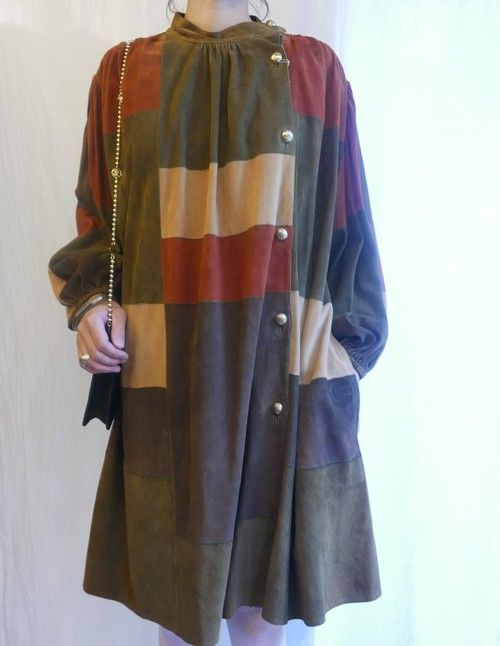 "ELSA CORELLI ""Patchwork"" Suede Dress"