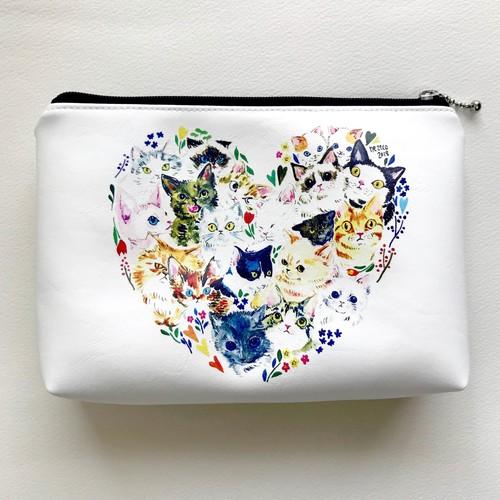 ne22co ポーチ【猫と花】