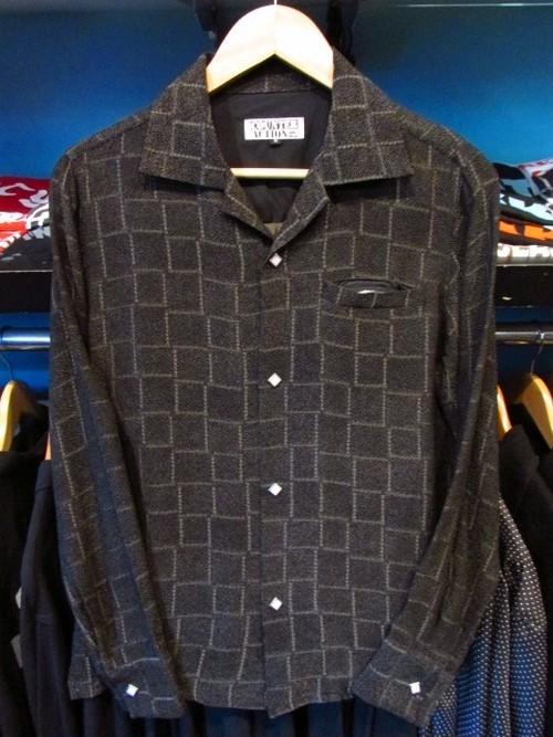 L/Sシャツ チェック ブラック×ベージュ
