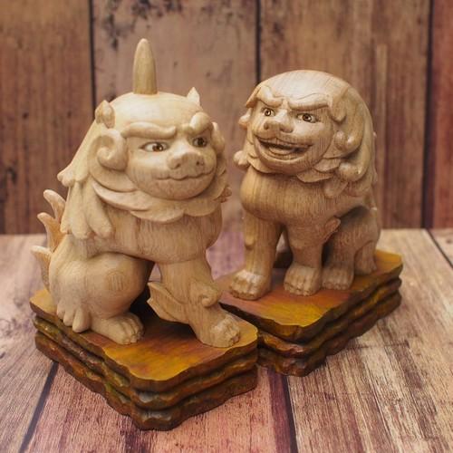 可愛い手のり一笑狛犬(京都八坂神社神殿狛犬より)【木彫り】