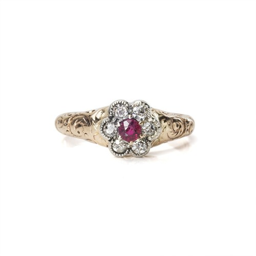 Victorian Ruby flower Cluster Ring