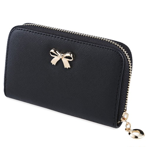 Korean Bownot Women Purses Ladies Candy Color Zipper Short  Wallet Handbag Wearable Phone Bag Female Small Coin Clutch  Wallet