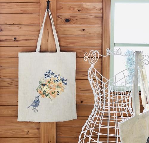 刺繍入りバッグ バード&フラワー