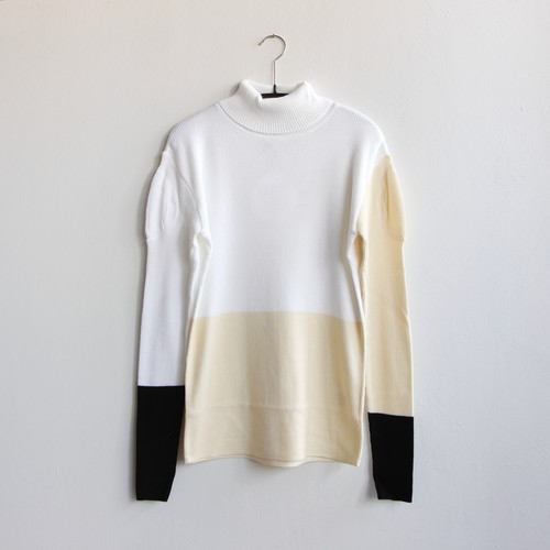 《frankygrow 2020AW》MULTI COLOR SWELL SHOULDER HIGH-NECK KNIT / white × ivory × black / F(大人)