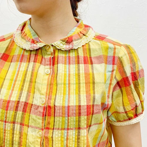 (LOOK) check puff sleeve shirt