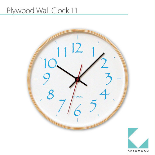 KATOMOKU plywood wall clock 11 km-79L ライトブルー