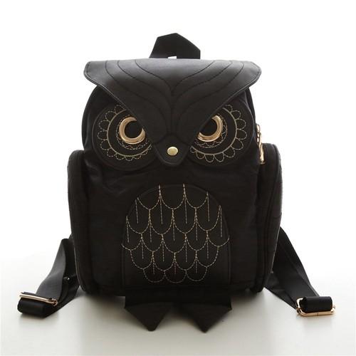 Backpack Stylish Black PU Leather Owl Backpack Shoulder Bag ブラック ショルダーバッグ レザー バックパック リュック (HF99-3300350)