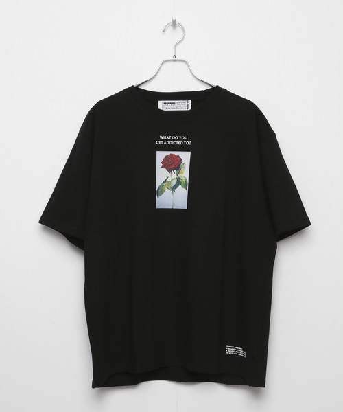 LIMITED ADDICT ROSE EMBROIDERY T-shirt [Black]