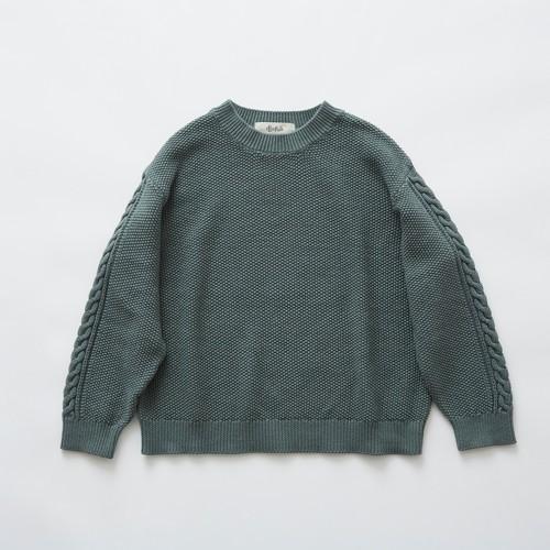 《eLfinFolk 2019SS》moss stitch sweater / sage green / 110・130cm