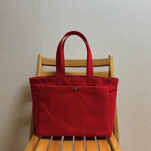 「ボックストート」通勤トート「赤×ミネラルブルー」帆布トートバッグ 倉敷帆布8号【受注制作】