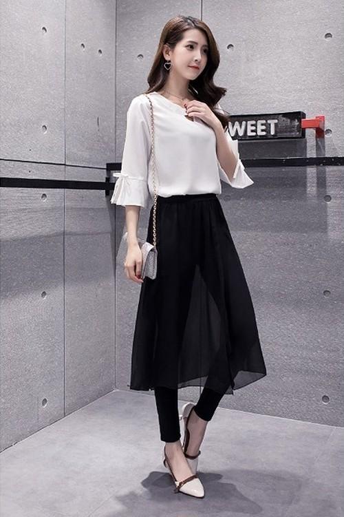 大きいサイズ レディース スカート付きレギンス 春夏 小さいサイズ 【S8920817】