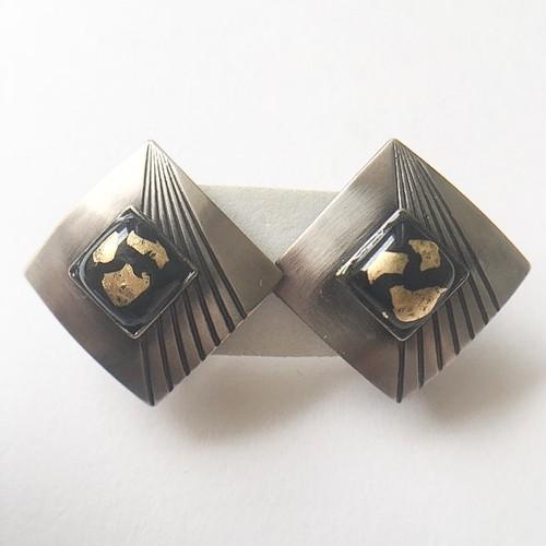 silver & black design earring[e-915]