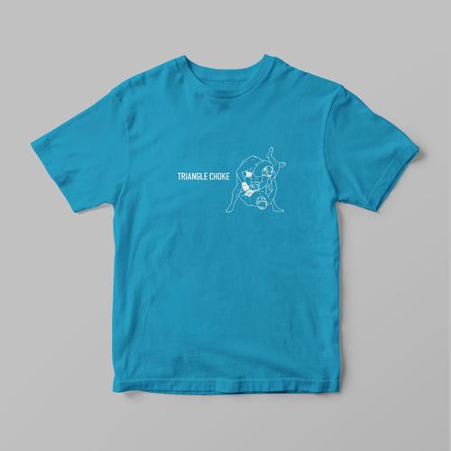 格闘技 三角絞め(トライアングルチョーク)Tシャツ(ターコイズ)