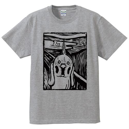 オカメの叫びTシャツ【デザインB】/グレー