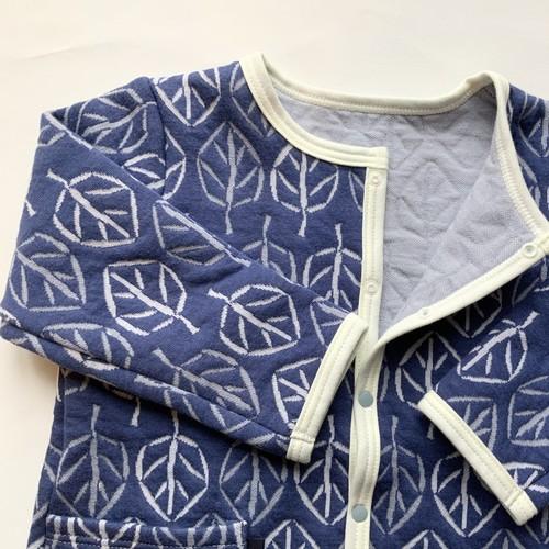 kids【キルトJK】leaf/ブルー/original textile