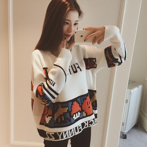 【トップス】新作カートゥーンキュートルーズゆったり長袖セーター