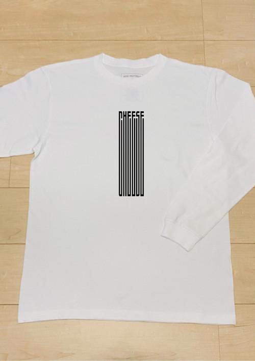 チーーーズ (White) / 長袖T-Shirt リブ仕様 / 5.6オンス ヘビーウェイト