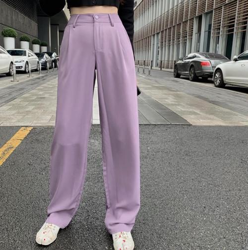 ワイドパンツ ストレートパンツ ハイウエスト タック シンプル 無地 カジュアル 大人可愛い 韓国 オルチャン ファッション