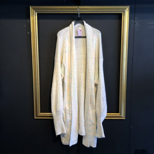 80's white×pastelcollar knit gown [B1629]