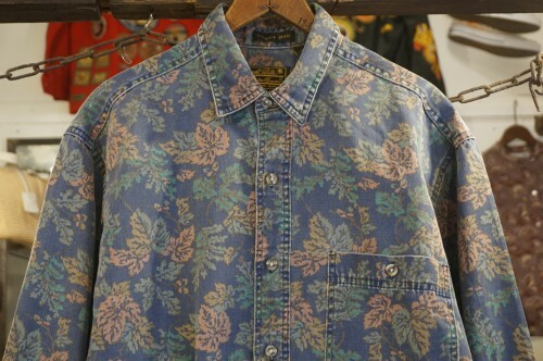 "80's Eddie Bauer maple-printed Shirt ""Made in U.S.A."""