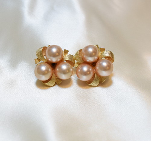 VINTAGE pearl gold flame earring
