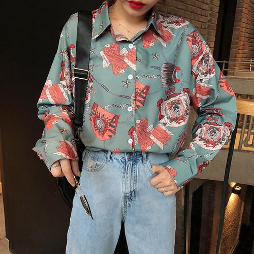 【トップス】プリントPOLOネック韓国系シングルブレストシャツ26668230