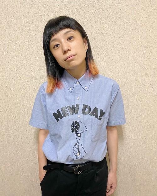 NEW DAY オックスフォードボタンダウンシャツ-Blue-(半袖)