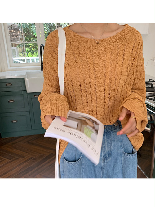 大きくてゆったり着やすく手が隠れる袖が可愛い☆透け感のあるラウンドネック縄編みセーター