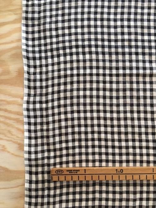 Khadi silk × cotton ブラック×ホワイトチェック