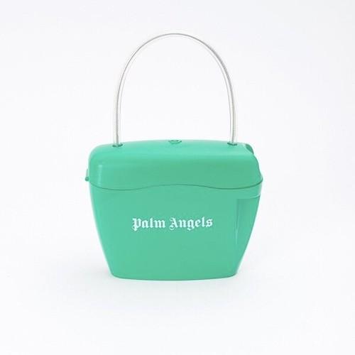 PALM ANGELS PADLOCK BAG GREEN WHITE