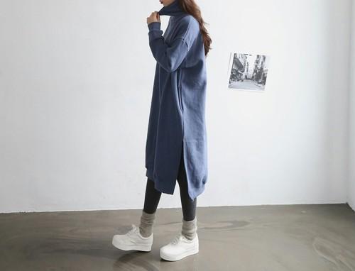 韓国レディース服☆ハイネックスエットワンピース