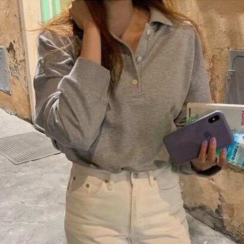 ジェントル 柔らか 韓国ファッション 長袖 カジュアル シンプル 上品  パーカー・トップス