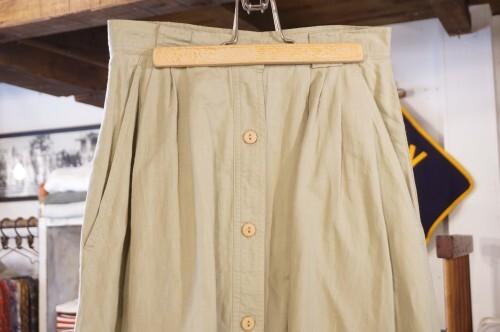 90's linen cotton flared Skirt