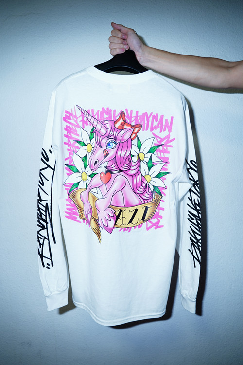 "Rakugaki ""UNICORN"" Long Sleeve T-Shirts White"