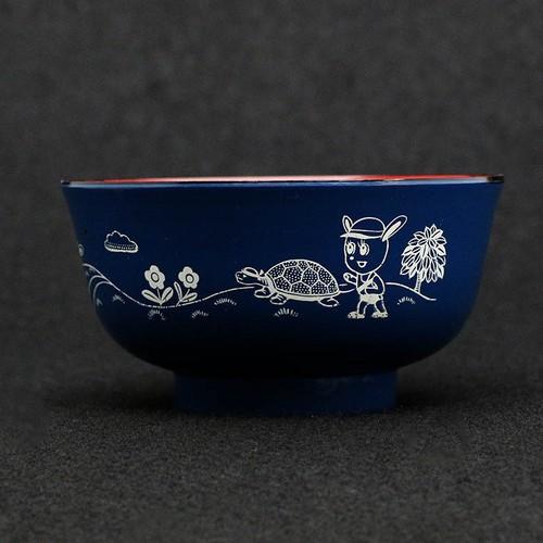 昭和レトロ プラスチック 子供茶碗 おわん ウサギと亀柄 (078)
