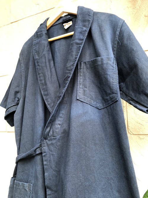 1940s British S/S cotton drill wrapped coat navy color with CC41 label
