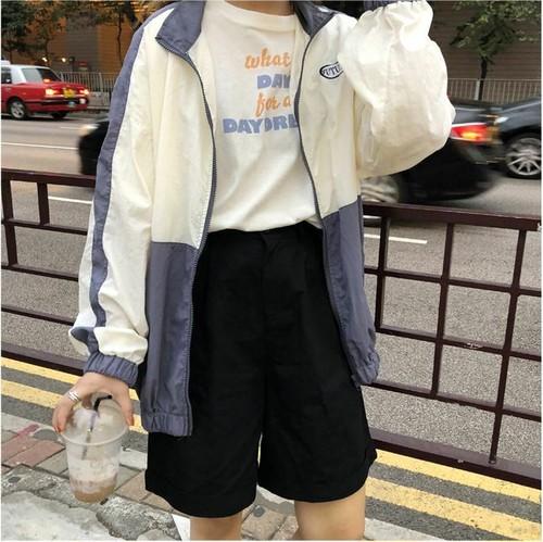 2color バイカラー ブルゾン ライトアウター ストリート カジュアル レディース ファッション 韓国 オルチャン