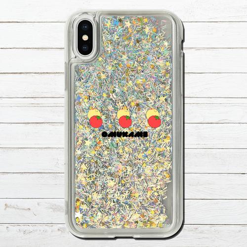 #080-015 グリッターケース iPhoneケース キラキラ スマホケース iPhoneXS/X かわいい ゆるキャラ 可愛い iPhone6/6s/7/8 グリッタースマホケース (iPhoneシリーズのみ対応・iPhonePlus非対応) タイトル:トマトとオムかめ ロゴあり 作:星宮あき