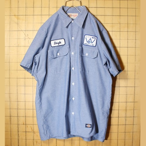 ビッグサイズ 80s 90s USA製 Dickies ディッキーズ 半袖 ワークシャンブレー シャツ ブルー メンズL ワッペン アメリカ古着 040721ss103