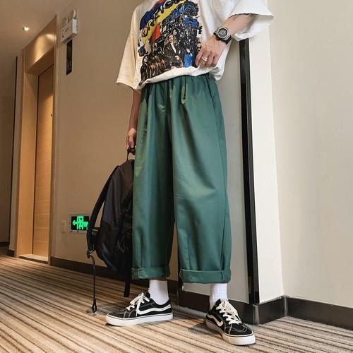 袖広ゆったりワイドパンツ ゴム ストリートファッション 韓流