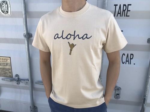 【Fine7月号掲載】alohaサイン Tシャツ(beige 日焼けサイン)