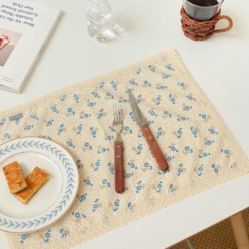 vintage flower linen mat 2size 4colors / レースリネン テーブルマット 韓国 北欧