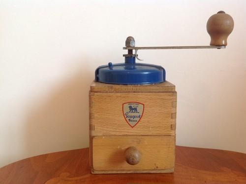 フランス プジョー社 アンティークコーヒーミルEX 木製 青1