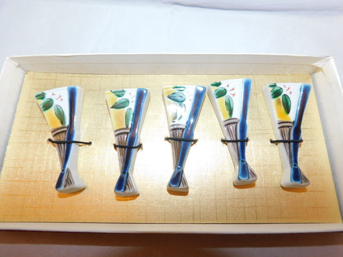 九谷焼扇型箸置(5客) Kutani porcelain chopstick  5holders