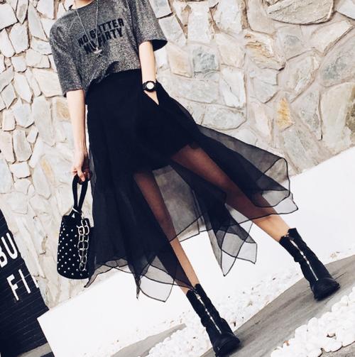【送料無料】透け感が可愛い♡チュールシアースカート