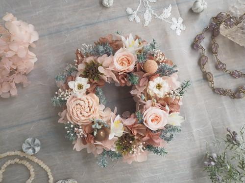 Petite Couronne<Rose coquille>*幸せ舞い込むミニリース *プリザーブドフラワー*花*ギフト*ウィンターリース*記念日*冬の贈りもの*2018